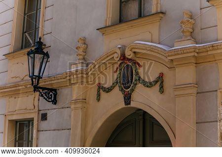Medieval Facade Of A Baroque Historic Building, Birthplace Of A Czech Artist Josef Manes, Vintage La