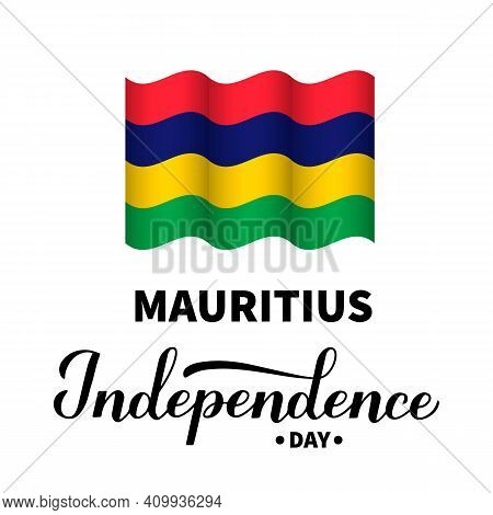 Mauritius Independence Day Lettering With Flag Isolated On White. Holiday Celebrated On March 12. Ve