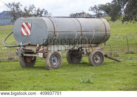 Water Tank Used For Cattle At Pastoral Management State. Extremadura, Spain