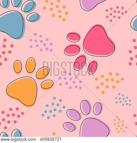 Cute Seamless Pattern With Colorful Pets Paws. Cat Or Dog Footprint Outline Background With Dots. An