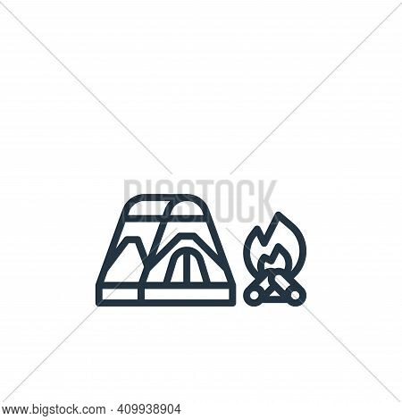 campfire icon isolated on white background from camping collection. campfire icon thin line outline