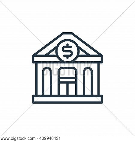 bank icon isolated on white background from money and currency collection. bank icon thin line outli