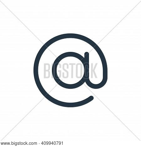 at sign icon isolated on white background from user interface collection. at sign icon thin line out