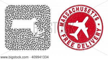 Vector Mosaic Massachusetts State Map Of Aircraft Elements And Grunge Free Delivery Seal.