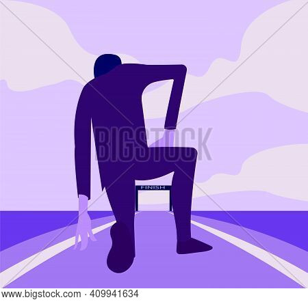 Young Businessman Standing In Start Position. Man In Determined. Vector Illustration