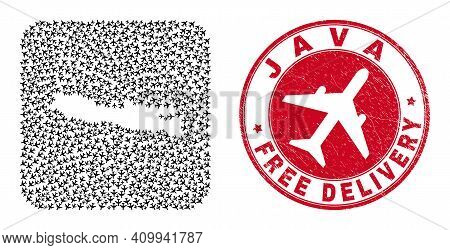 Vector Collage Java Island Map Of Air Plane Items And Grunge Free Delivery Seal Stamp. Collage Geogr