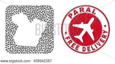 Vector Collage Paral State Map Of Air Plane Items And Grunge Free Delivery Stamp. Collage Geographic