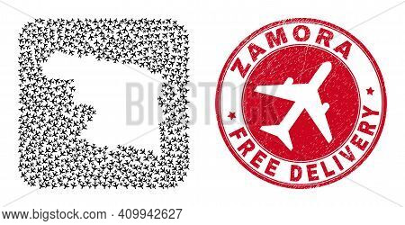Vector Mosaic Zamora Province Map Of Airliner Items And Grunge Free Delivery Badge. Mosaic Geographi