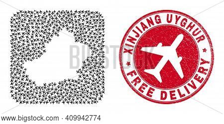 Vector Collage Xinjiang Uyghur Region Map Of Aeroplane Elements And Grunge Free Delivery Badge.