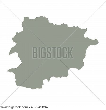 Silhouette Of Andorra Country Map. Highly Detailed Editable Gray Map Of Andorra, European Country Te