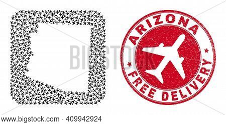 Vector Collage Arizona State Map Of Air Plane Items And Grunge Free Delivery Seal. Collage Geographi