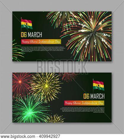 Ghana Independence Day Fireworks Backgrounds Set. National Day Of Ghana Country Celebration Banner,