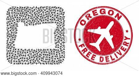 Vector Collage Oregon State Map Of Airliner Items And Grunge Free Delivery Stamp. Collage Geographic