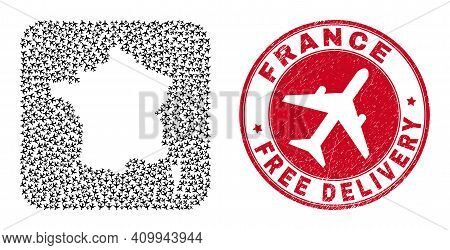 Vector Collage France Map Of Aviation Items And Grunge Free Delivery Badge. Collage Geographic Franc