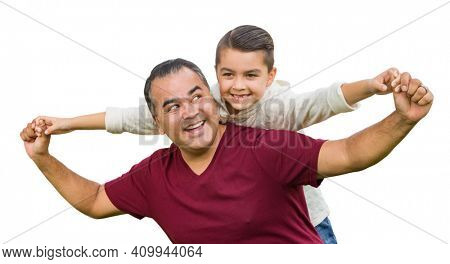 Hispanic Father and Mixed Race Son Having Fun Isolated on a White Background.