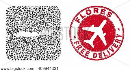 Vector Collage Flores Islands Of Indonesia Map Of Aircraft Items And Grunge Free Delivery Badge.