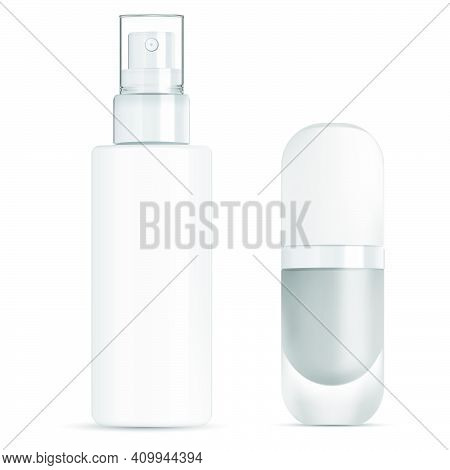Spray Cosmetic Bottle. Foundation Package Mockup. Mist Pump Container Blank. Makeup Foundation Bottl