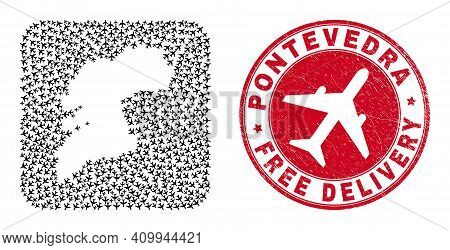 Vector Mosaic Pontevedra Province Map Of Airliner Items And Grunge Free Delivery Seal.