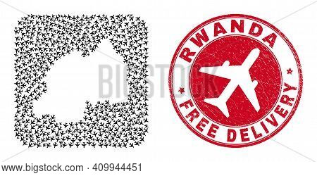 Vector Mosaic Rwanda Map Of Aeroplane Items And Grunge Free Delivery Seal Stamp. Mosaic Geographic R