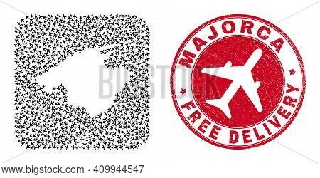 Vector Collage Majorca Map Of Airplane Elements And Grunge Free Delivery Stamp. Collage Geographic M