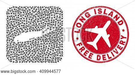 Vector Mosaic Long Island Map Of Aircraft Elements And Grunge Free Delivery Seal Stamp. Mosaic Geogr