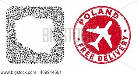 Vector Mosaic Poland Map Of Aviation Elements And Grunge Free Delivery Seal Stamp. Mosaic Geographic