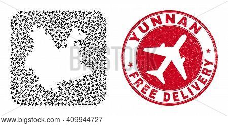 Vector Collage Yunnan Province Map Of Airplane Items And Grunge Free Delivery Stamp. Collage Geograp