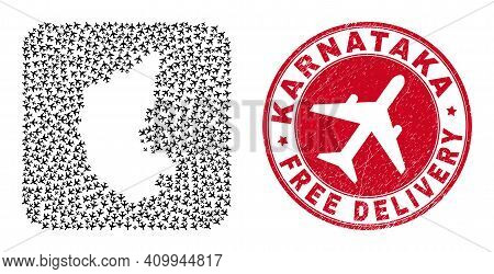 Vector Collage Karnataka State Map Of Air Plane Items And Grunge Free Delivery Stamp. Collage Geogra
