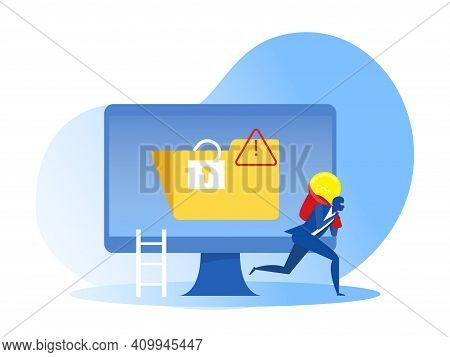 Businessman Thief In Mask Stealing Idea, Intellectual Property, Copyright Vector Illustrator.