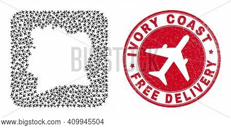 Vector Collage Ivory Coast Map Of Air Plane Elements And Grunge Free Delivery Badge. Collage Geograp