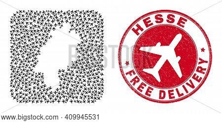 Vector Collage Hesse Land Map Of Airliner Elements And Grunge Free Delivery Stamp. Mosaic Geographic