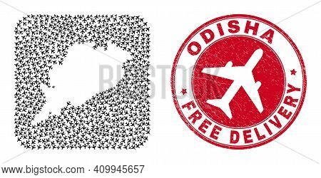 Vector Mosaic Odisha State Map Of Airplane Items And Grunge Free Delivery Badge. Mosaic Geographic O