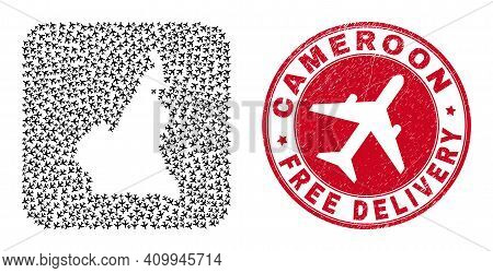 Vector Mosaic Cameroon Map Of Jet Vehicle Elements And Grunge Free Delivery Seal Stamp. Mosaic Geogr