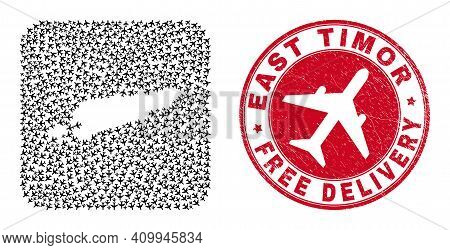 Vector Collage East Timor Map Of Aviation Items And Grunge Free Delivery Seal Stamp. Mosaic Geograph