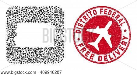 Vector Collage Brazil Distrito Federal Map Of Aircraft Elements And Grunge Free Delivery Seal.