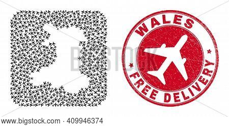 Vector Collage Wales Map Of Jet Vehicle Elements And Grunge Free Delivery Seal. Collage Geographic W