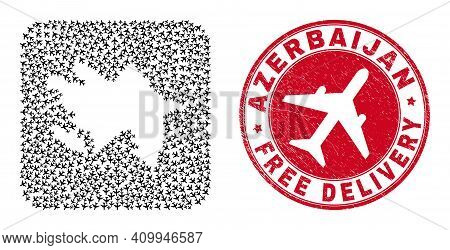 Vector Mosaic Azerbaijan Map Of Aeroplane Items And Grunge Free Delivery Stamp. Mosaic Geographic Az