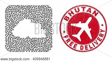 Vector Mosaic Bhutan Map Of Jet Vehicle Elements And Grunge Free Delivery Badge. Mosaic Geographic B
