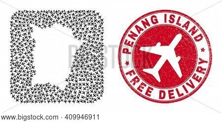 Vector Collage Penang Island Map Of Air Plane Elements And Grunge Free Delivery Seal Stamp.