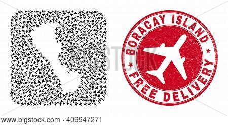 Vector Mosaic Boracay Island Map Of Airliner Items And Grunge Free Delivery Seal. Mosaic Geographic
