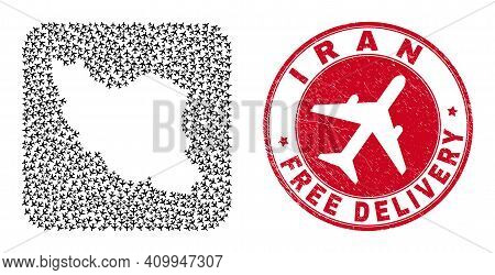Vector Collage Iran Map Of Air Plane Items And Grunge Free Delivery Seal Stamp. Mosaic Geographic Ir
