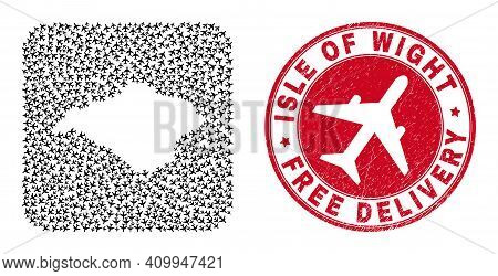 Vector Collage Isle Of Wight Map Of Air Plane Items And Grunge Free Delivery Seal. Collage Geographi