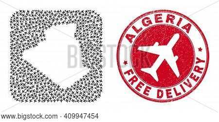 Vector Collage Algeria Map Of Airplane Items And Grunge Free Delivery Seal. Collage Geographic Alger