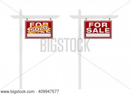 Two Right Facing Sold and For Sale Real Estate Signs With Clipping Paths Isolated on White Background.