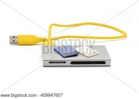 Close Up Usb 3.0 Card Reader With Sd (micro Sd) Card Isolated On White Background.