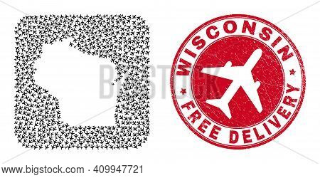 Vector Collage Wisconsin State Map Of Aeroplane Items And Grunge Free Delivery Stamp.
