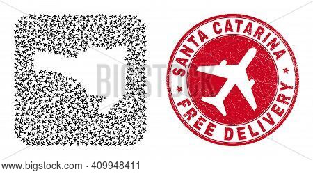 Vector Collage Santa Catarina State Map Of Aeroplane Elements And Grunge Free Delivery Badge.