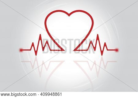 Heart Pulse Reflection. Health Care. Picture With Reflection. Doodle Illustration. Stock Image. Eps