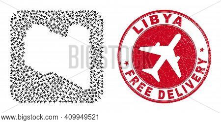 Vector Mosaic Libya Map Of Air Force Elements And Grunge Free Delivery Stamp. Mosaic Geographic Liby