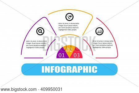 Vector Infographic Semicircle Label Banner Elements And Numbers. Business Concept Thin Line Flat Inf